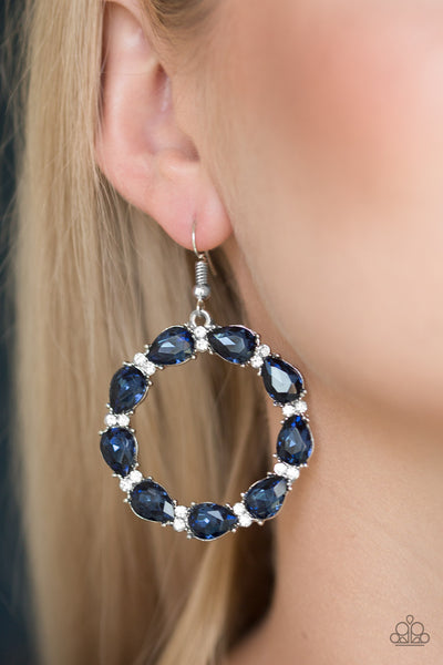 Ring Around The Rhinestones - Blue Hoop Earrings - Paparazzi Accessories
