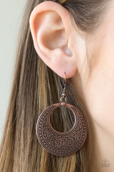 Paparazzi Floral Frontier Hoop Earrings - Copper