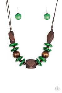 Paparazzi Pacific Paradise Wooden Necklace - Green