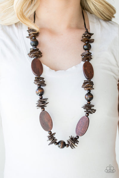 Paparazzi Carefree CocoCay Necklace-Brown