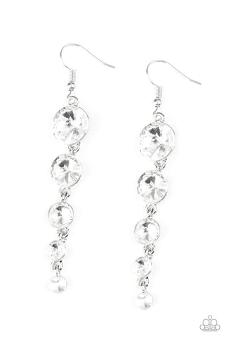 Raining Rhinestones - White Earrings - Paparazzi Accessories