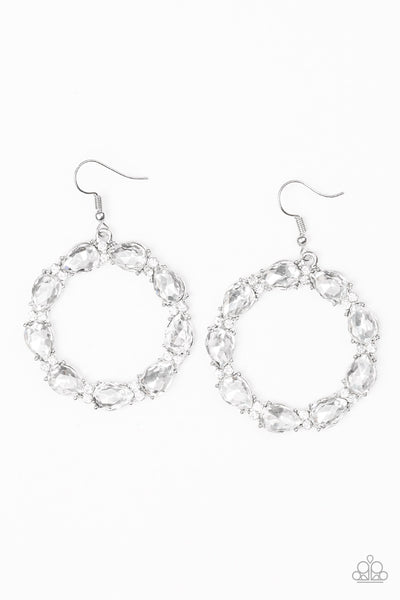 Ring Around The Rhinestones - White Hoop Earrings - Paparazzi Accessories