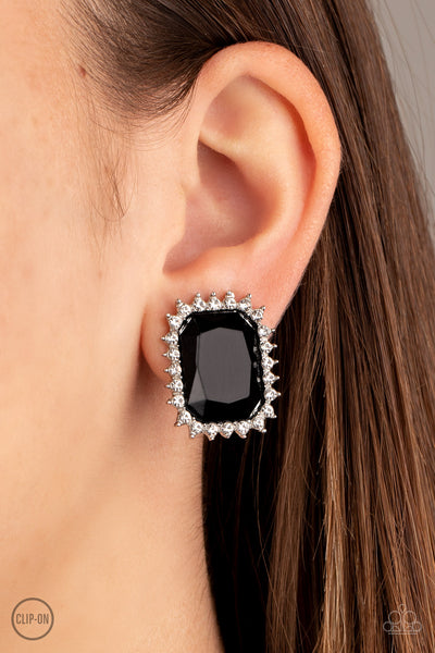 Insta Famous - Black Clip-On Earrings - Paparazzi Accessories