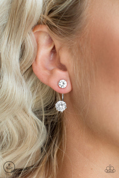 Starlet Squad- White Double-Sided Rhinestone Earrings - Paparazzi Accessories