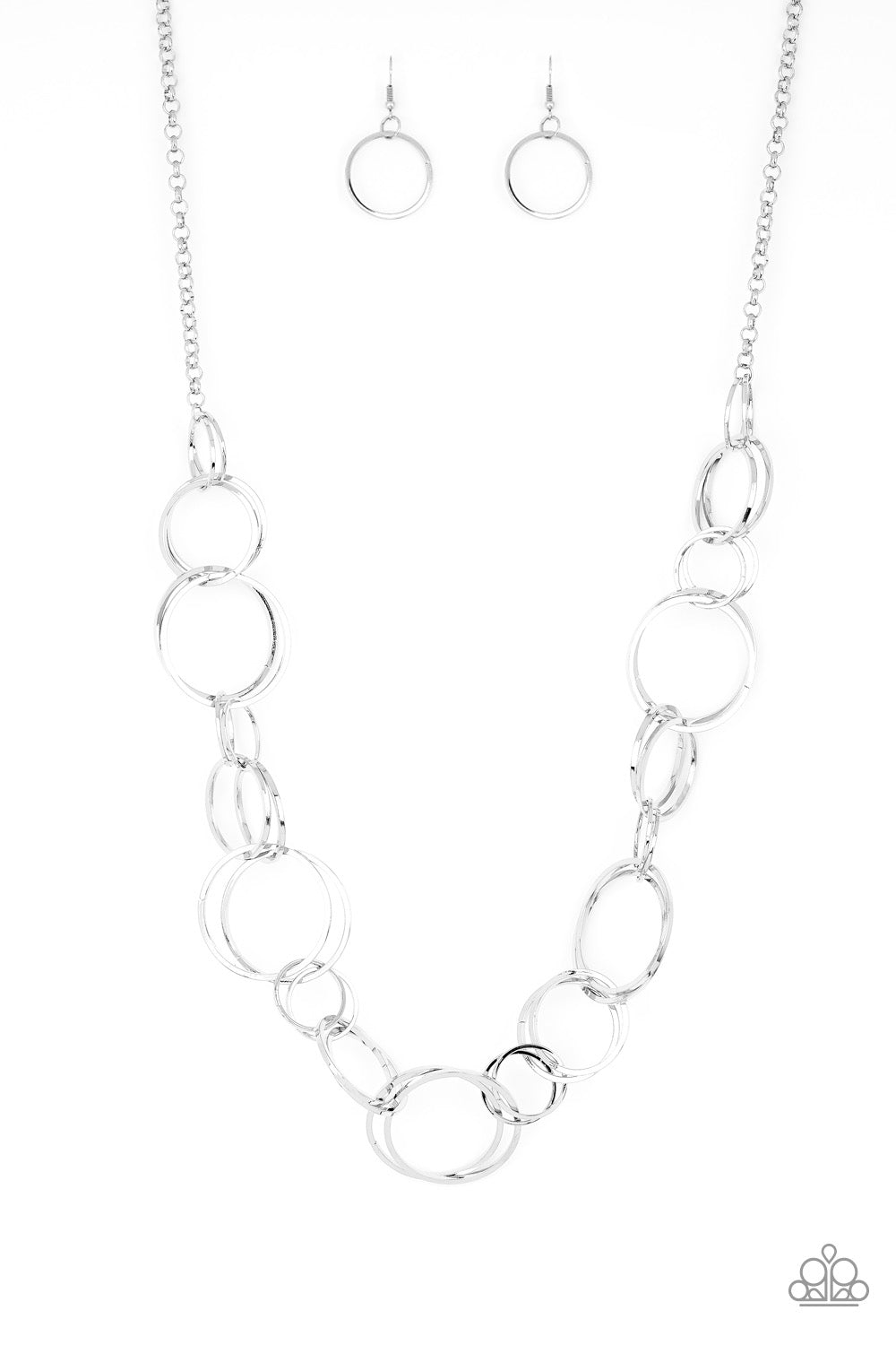 Natural-Born RINGLEADER - Silver Hoop Necklace - Paparazzi Accessories