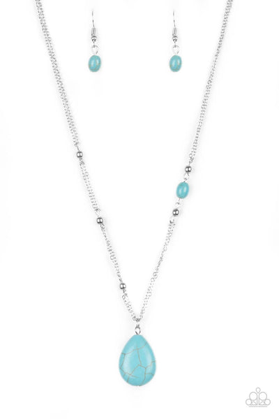Peaceful Prairies - Blue Necklace - Paparazzi Accessories