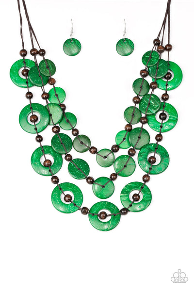 Paparazzi Catalina Coastin' Necklace-Green