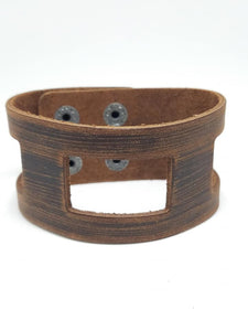 Geometric Cutout - Brown Leather Urban Bracelet - Paparazzi Accessories