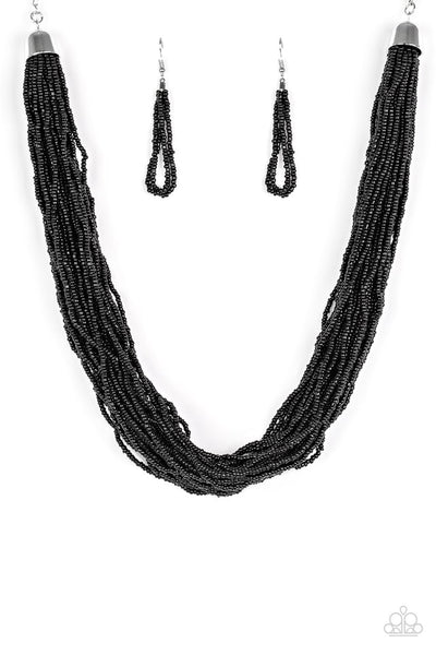 The Show Must CONGO On! - Black Seed Bead Necklace - Paparazzi Accessories