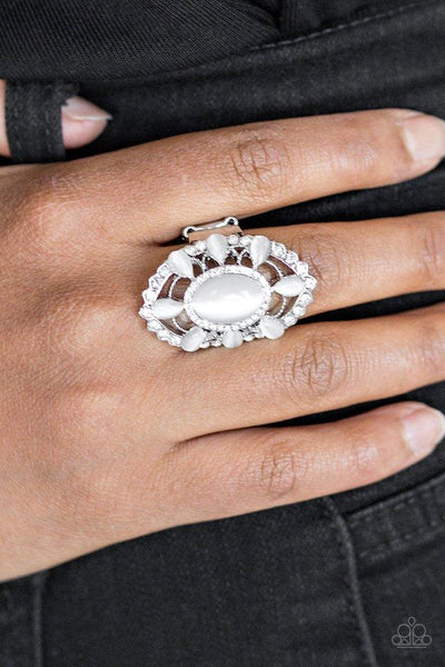 Paparazzi Over The MOONFLOWER Moonstone Ring - White