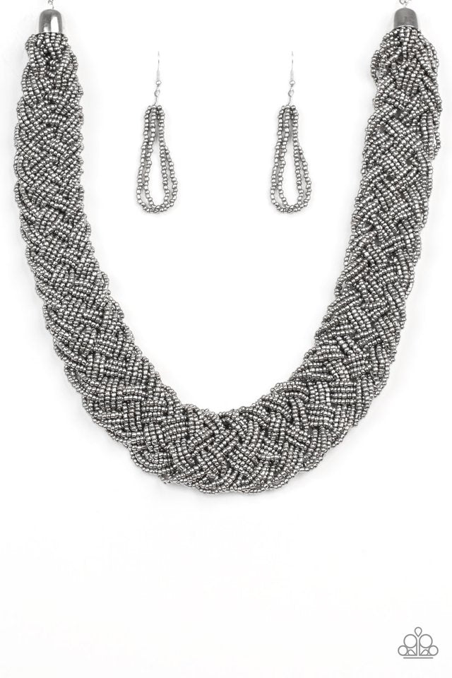 Paparazzi Mesmerizing Mesopotamia Seed Bead Braided Necklace - Gray