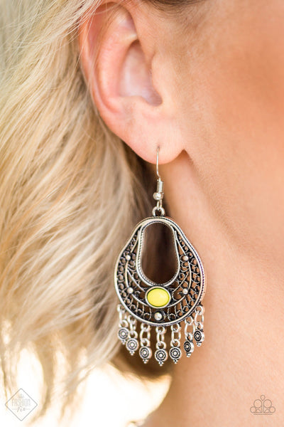 Shoreside Social - Yellow Earrings - Paparazzi Accessories