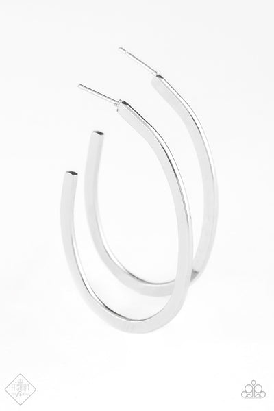 Paparazzi Above The Curve Hoop Earrings-Silver