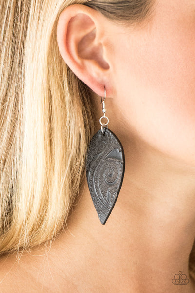 Paparazzi Groovy Grove Leather Earrings - Black