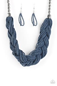 The Great Outback - Blue Denim Seed Bead Necklace - Paparazzi Accessories