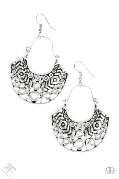 Paparazzi Indigenous Idol Hoop Earrings - Silver