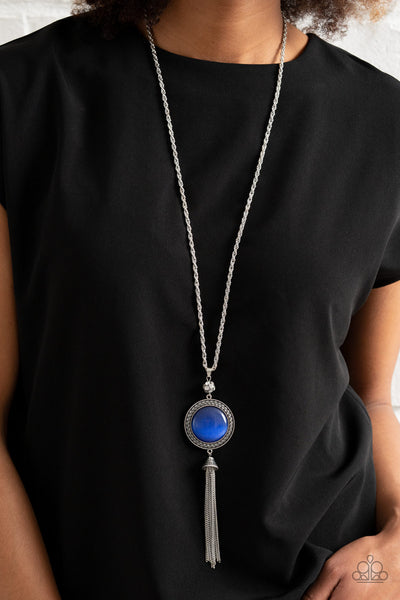 Serene Serendipity - Blue Moonstone Cat's Eye Necklace - Paparazzi Accessories