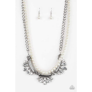 Paparazzi Bow Before The Queen Necklace-White