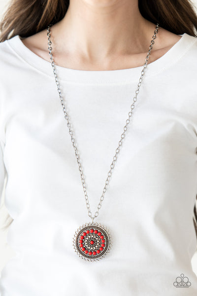 Lost SOL - Red Necklace - Paparazzi Accessories
