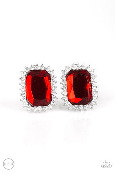 Downtown Dapper - Red Clip-On Earrings - Paparazzi Accessories