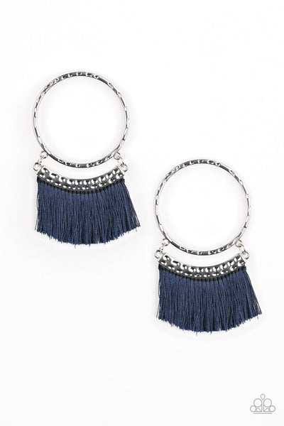 This is Sparta - Blue Fringe Hoop Earrings - Paparazzi Accessories