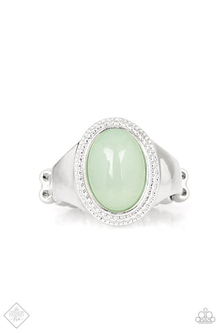 Mystically Malibu - Green Moonstone Ring - Paparazzi Accessories