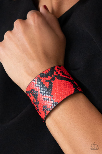 The Rest Is HISS-tory - Red Snakeskin Print Wrap Bracelet - Paparazzi Accessories