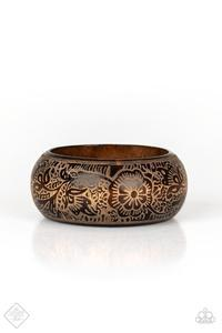 Beach Retreat - Brown Wooden Craved Bangle Bracelet - Paparazzi Accessories