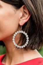Welcome to the GLAM-boree  - White Rhinestone Earrings - Paparazzi Accessories