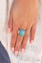 Bountiful Deserts - Blue Turquoise Stone Ring - Paparazzi Accessories