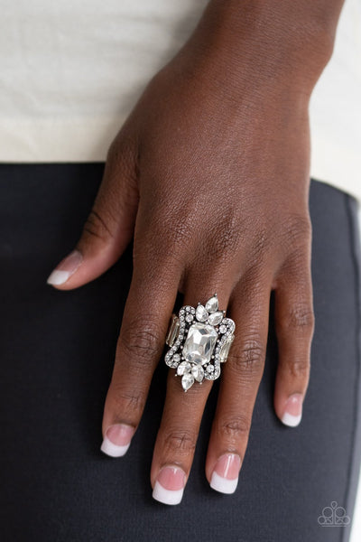 Things That Go Boom! - White Rhinestone Ring - Paparazzi Accessories