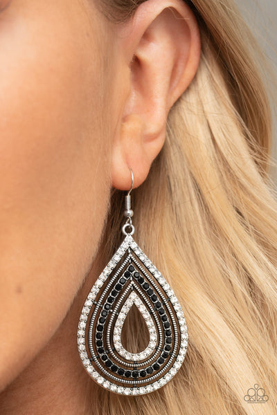 5th Avenue Attraction - Black and White Rhinestone Earrings - Paparazzi Accessories