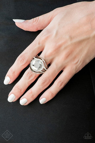 Stay For The Fireworks - White Rhinestone Ring - Paparazzi Accessories
