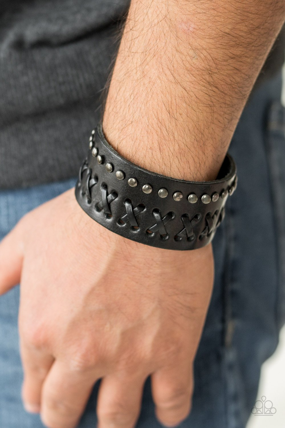 Recklessly Rebel - Black Leather Urban Bracelet - Paparazzi Accessories