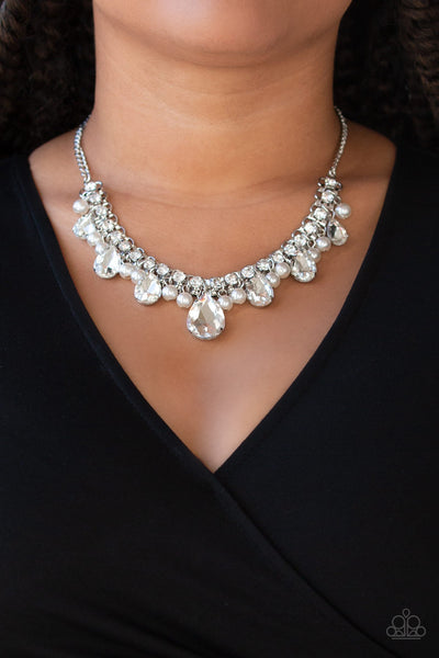Knockout Queen - White Pearl Rhinestone Teardrop Necklace - Paparazzi Accessories