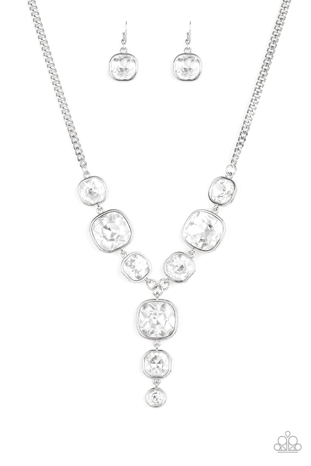 Legendary Luster - White Gem Necklace - Paparazzi Accessories