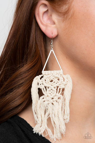 Modern Day Macrame - White Earrings - Paparazzi Accessories