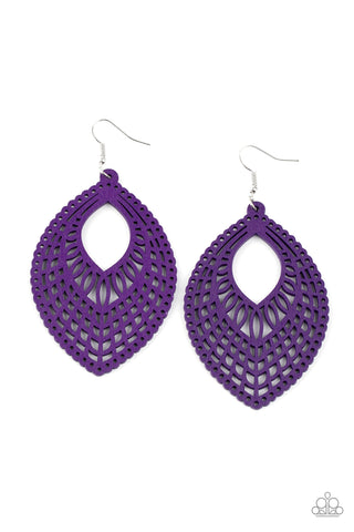 One Beach At A Time - Purple Wood Earrings - Paparazzi Accessories