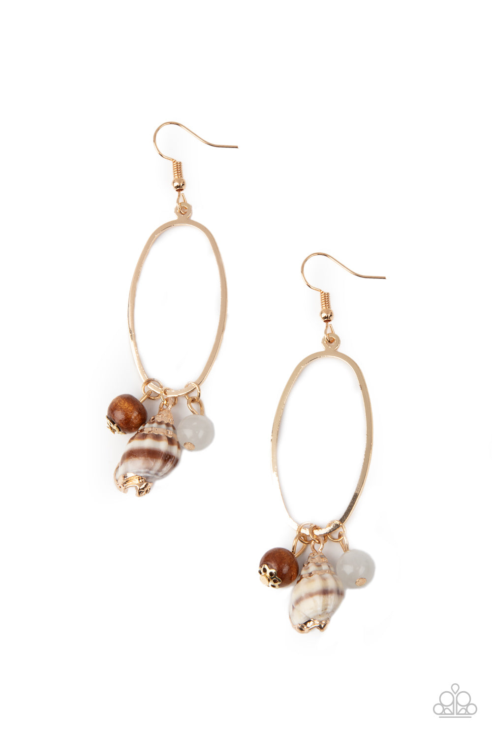 Golden Grotto - White Earrings - Paparazzi Accessories