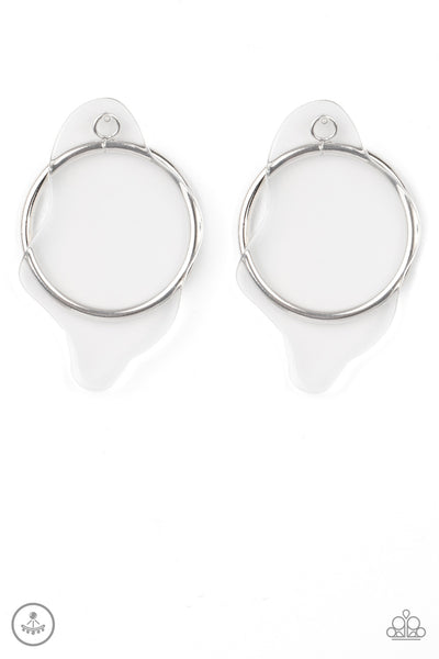 Clear The Way! - White Hoop Earrings -Paparazzi Accessories