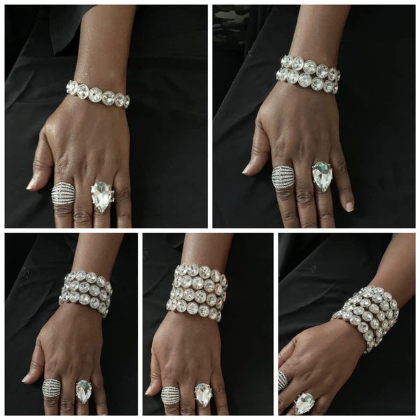 Number One Knockout - White Rhinestone Bracelet - Paparazzi Accessories