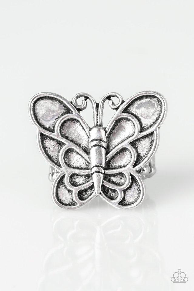 Sky High Butterfly - Silver Ring - Paparazzi Accessories