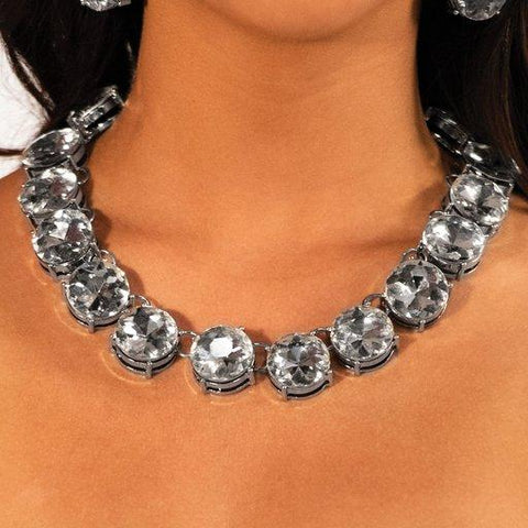 The Marissa - White Rhinestone Necklace - Paparazzi Accessories