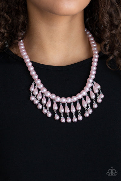 Paparazzi Miss Majestic Pearl Fringe Necklace - Pink