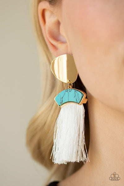 Paparazzi Insta Inca Tassel Earrings - Blue