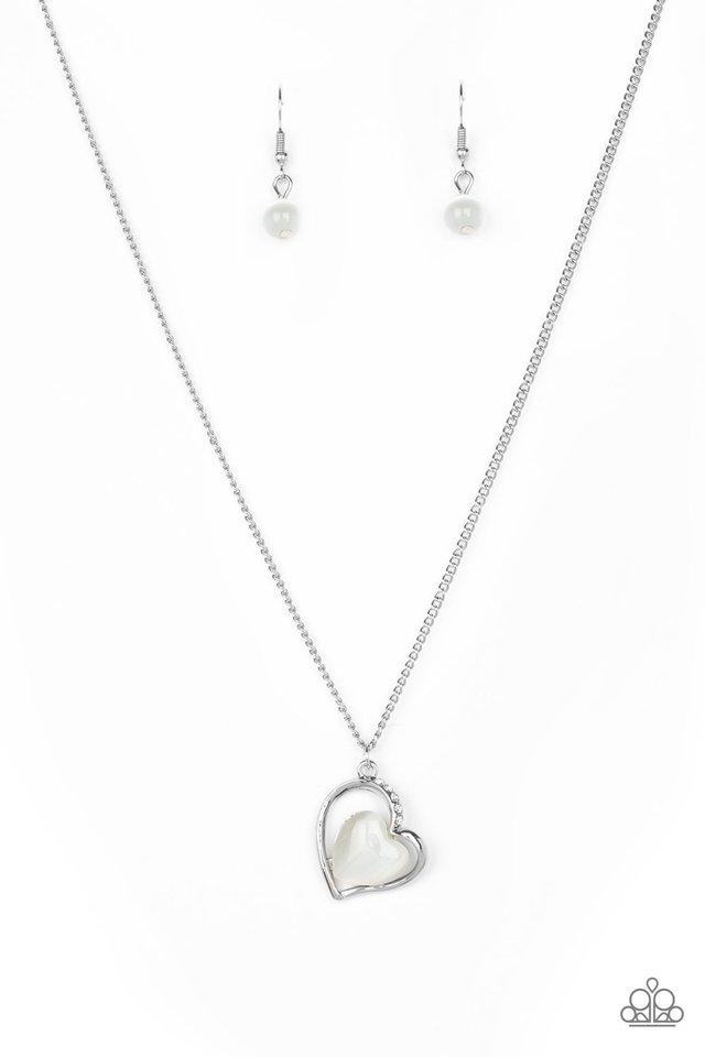 Paparazzi Love of My Life Heart Necklace - White