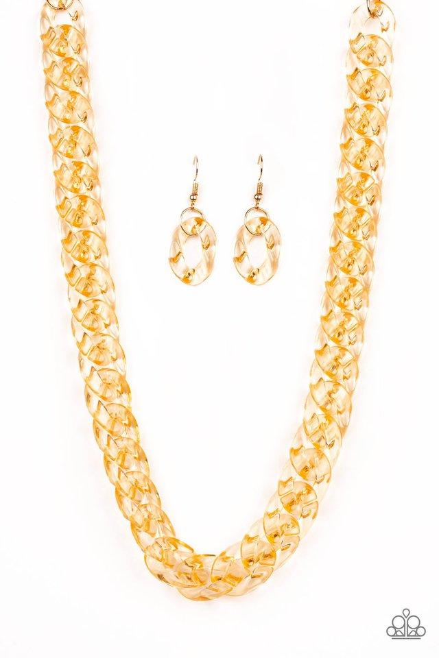 Put It On Ice - Gold Acrylic Necklace - Paparazzi Accessories