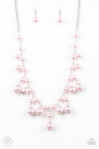 Soon To Be Mrs. - Pink Pearl Fringe Necklace - Paparazzi Accessories