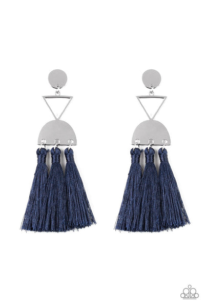 Tassel Trippin - Blue Fringe Earrings - Paparazzi Accessories