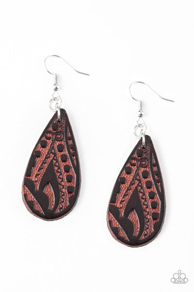 Paparazzi Get In The Groove Leather Earrings - Brown